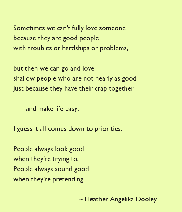 Sometimes we can't fully love someone