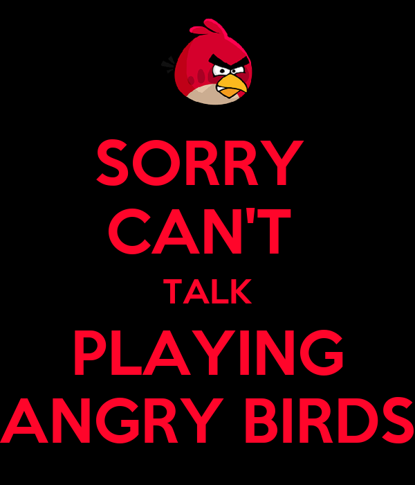 SORRY  CAN'T  TALK PLAYING ANGRY BIRDS
