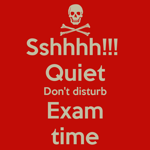 Sshhhh!!!  Quiet Don't disturb Exam time