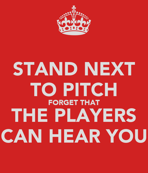 STAND NEXT TO PITCH FORGET THAT THE PLAYERS CAN HEAR YOU