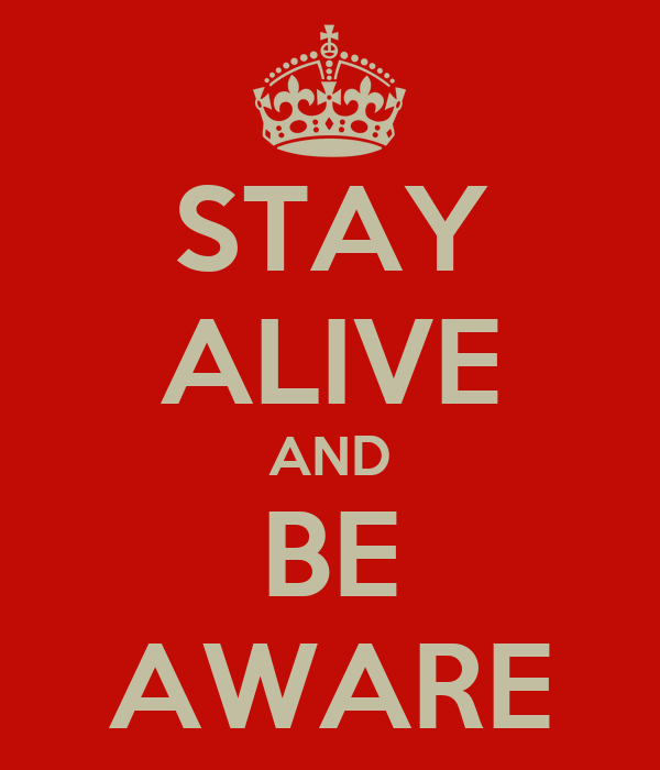 STAY ALIVE AND BE AWARE