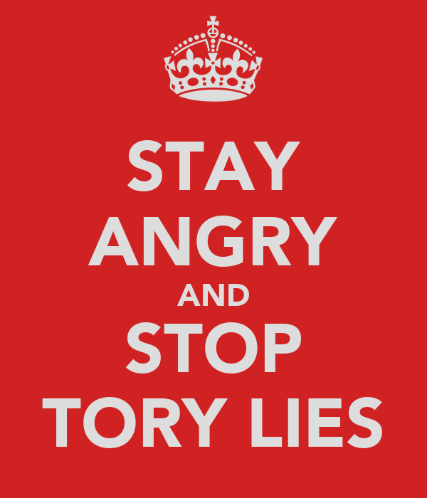 STAY ANGRY AND STOP TORY LIES