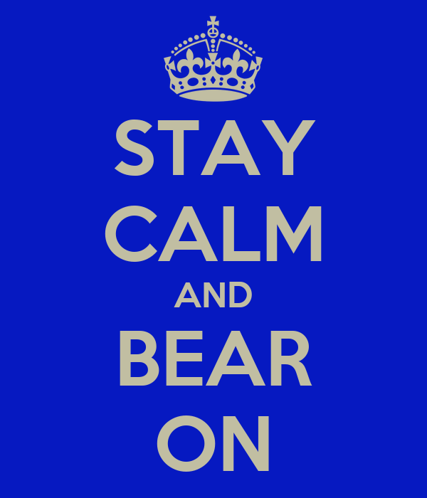 STAY CALM AND BEAR ON