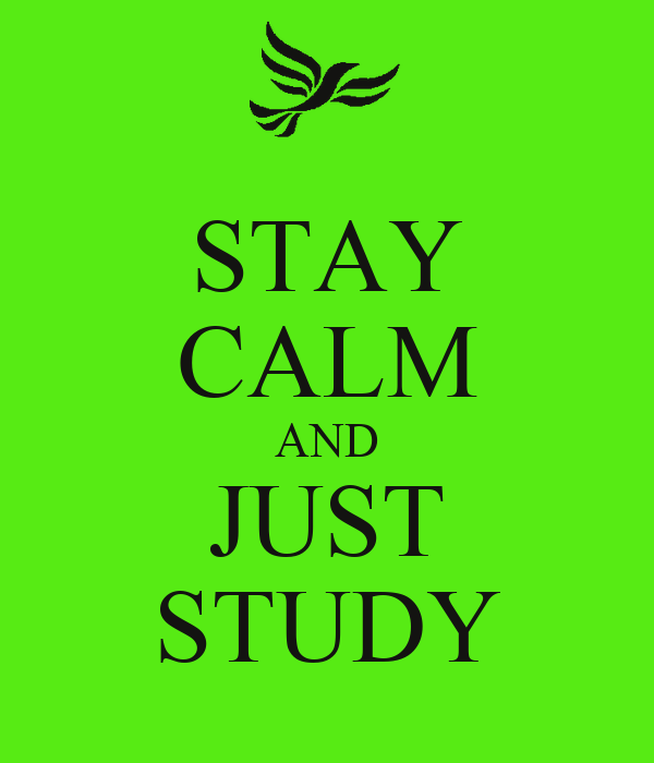 STAY CALM AND JUST STUDY