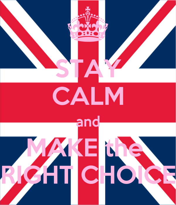 STAY CALM and MAKE the  RIGHT CHOICE