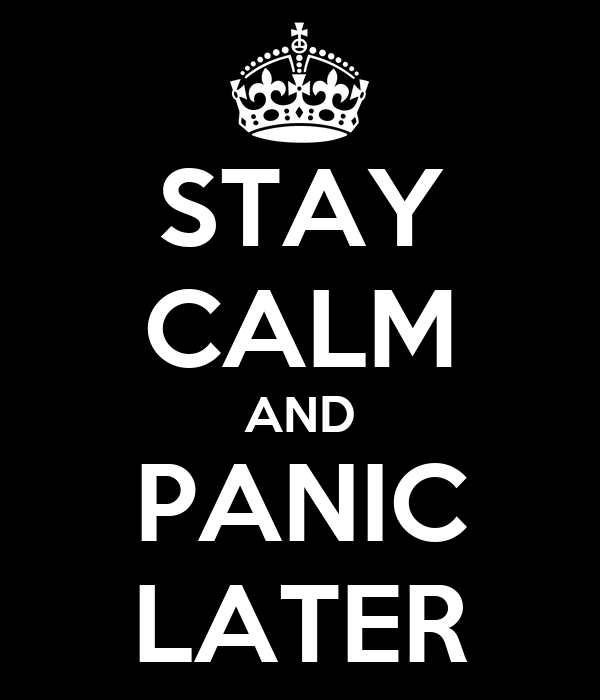 STAY CALM AND PANIC LATER