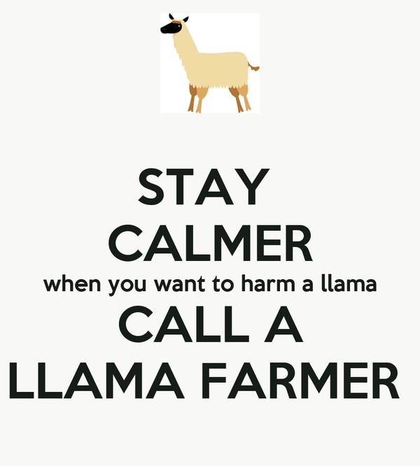 STAY  CALMER when you want to harm a llama CALL A LLAMA FARMER