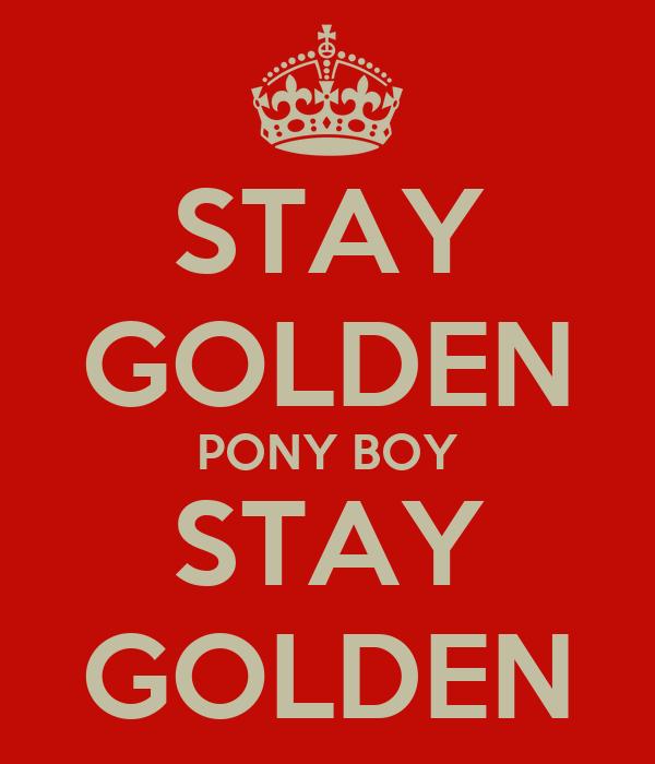 STAY GOLDEN PONY BOY STAY GOLDEN