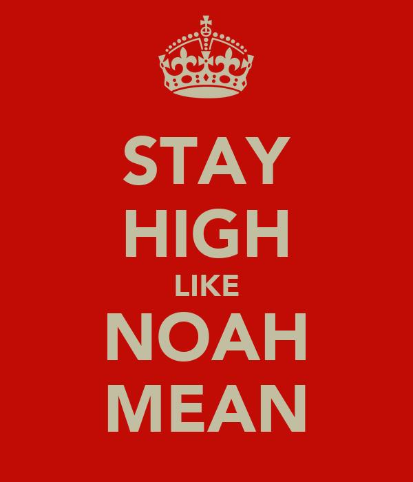 STAY HIGH LIKE NOAH MEAN