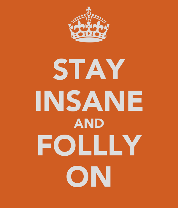 STAY INSANE AND FOLLLY ON