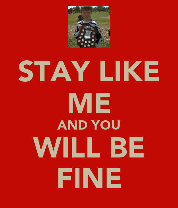 STAY LIKE ME AND YOU WILL BE FINE