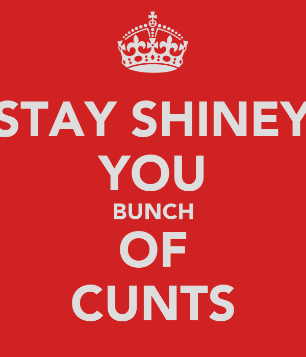 STAY SHINEY YOU BUNCH OF CUNTS