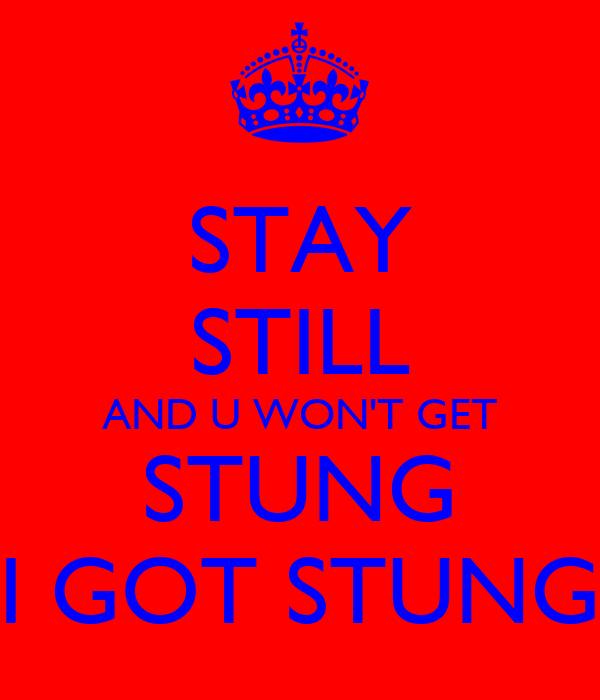 STAY STILL AND U WON'T GET STUNG I GOT STUNG