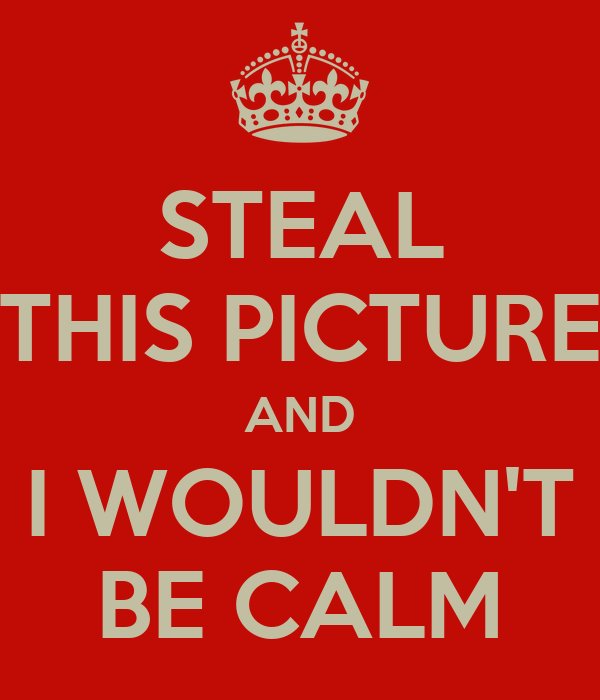 STEAL THIS PICTURE AND I WOULDN'T BE CALM