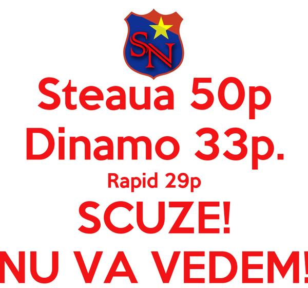 Steaua 50p Dinamo 33p. Rapid 29p SCUZE! NU VA VEDEM!