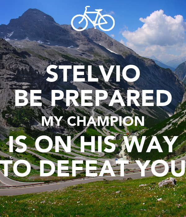 STELVIO BE PREPARED MY CHAMPION IS ON HIS WAY TO DEFEAT YOU