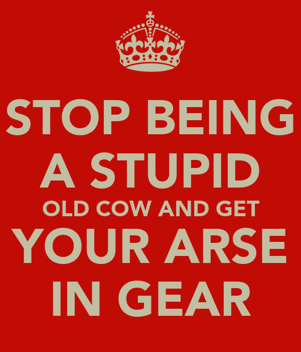 STOP BEING A STUPID OLD COW AND GET YOUR ARSE IN GEAR
