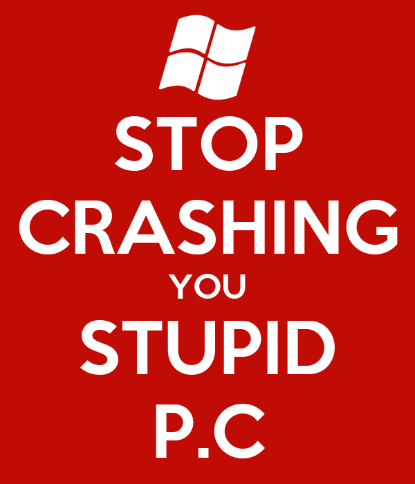 STOP CRASHING YOU STUPID P.C