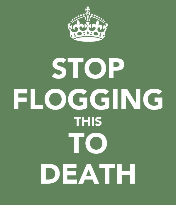 STOP FLOGGING THIS TO DEATH