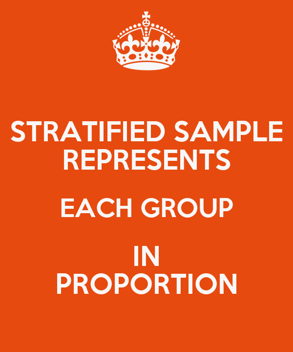 STRATIFIED SAMPLE REPRESENTS EACH GROUP IN PROPORTION