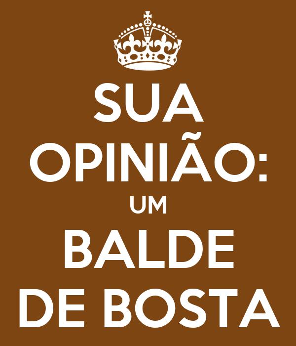 SUA OPINIÃO: UM BALDE DE BOSTA