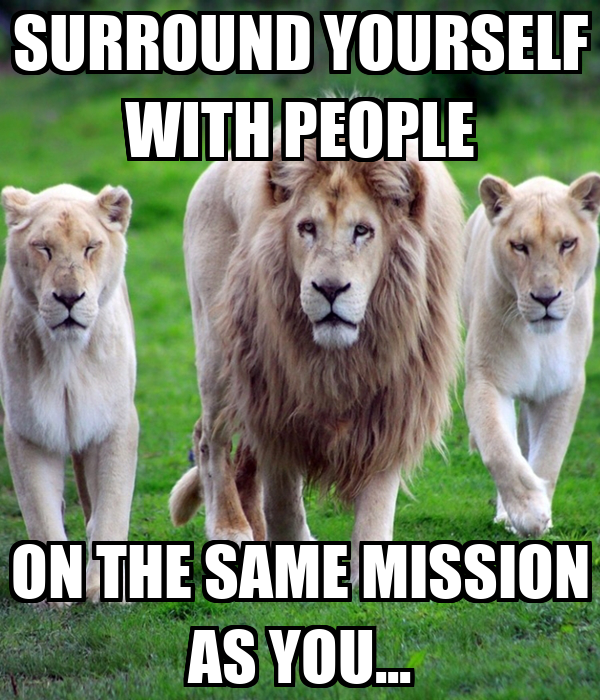 SURROUND YOURSELF WITH PEOPLE ON THE SAME MISSION AS YOU...