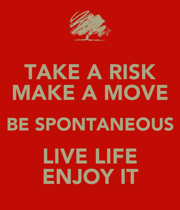 TAKE A RISK MAKE A MOVE BE SPONTANEOUS LIVE LIFE ENJOY IT