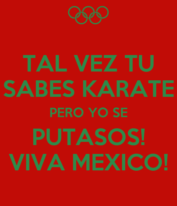 TAL VEZ TU SABES KARATE PERO YO SE PUTASOS! VIVA MEXICO!