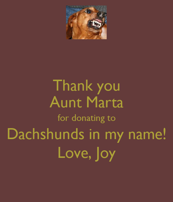 Thank you Aunt Marta for donating to Dachshunds in my name! Love, Joy