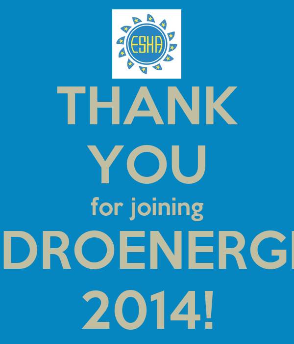 THANK YOU for joining HIDROENERGIA 2014!