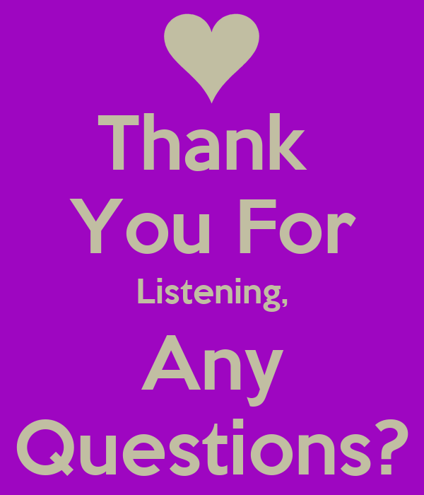 Thank  You For Listening, Any Questions?