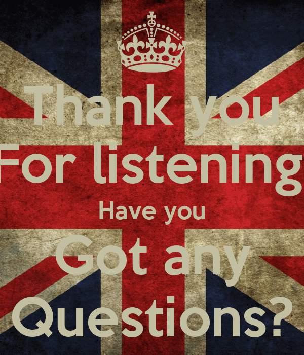 Thank you For listening, Have you Got any Questions?