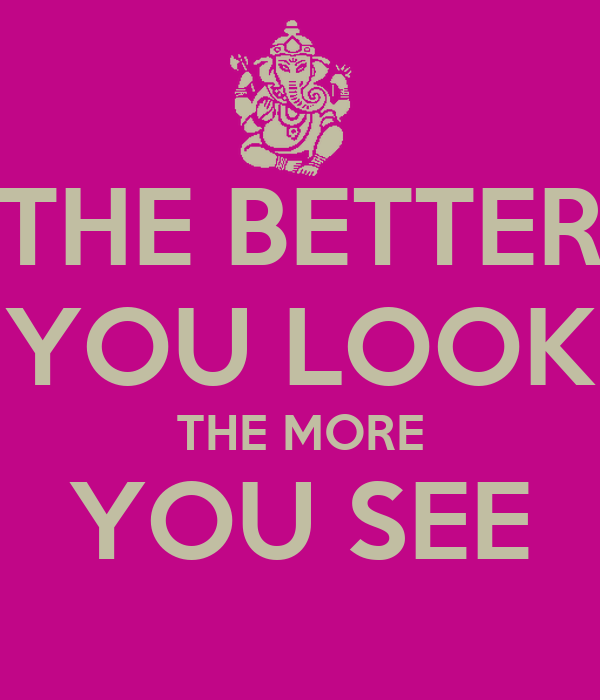 THE BETTER YOU LOOK THE MORE YOU SEE