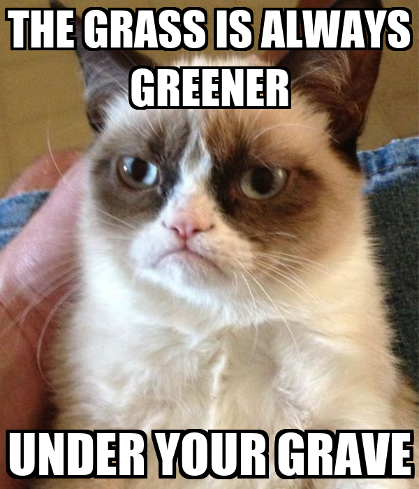 THE GRASS IS ALWAYS GREENER UNDER YOUR GRAVE