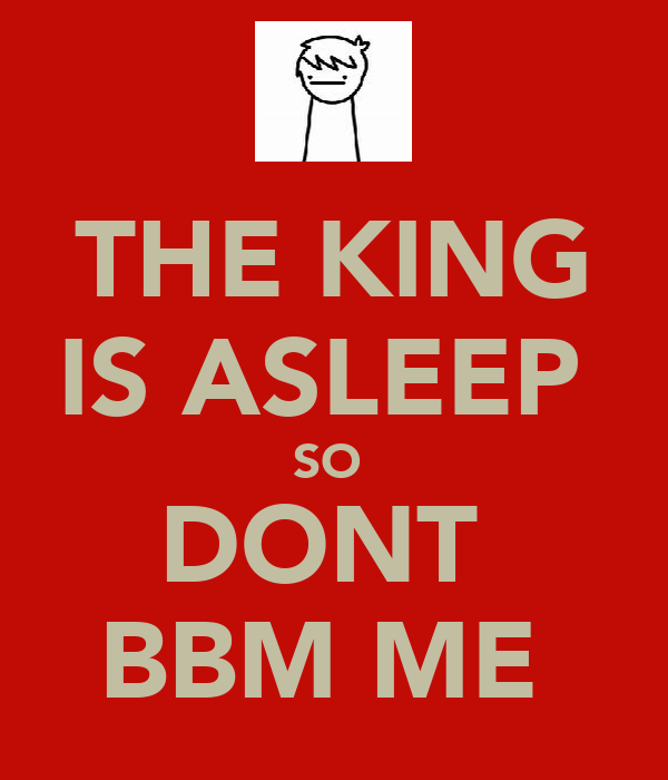 THE KING IS ASLEEP  SO  DONT  BBM ME