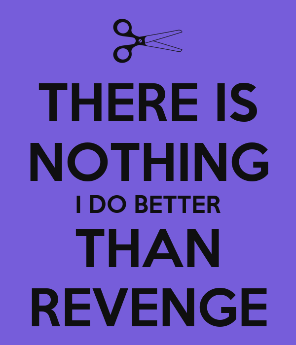 THERE IS NOTHING I DO BETTER THAN REVENGE