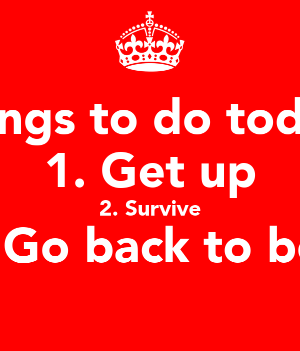 Things to do today: 1. Get up 2. Survive 3. Go back to bed