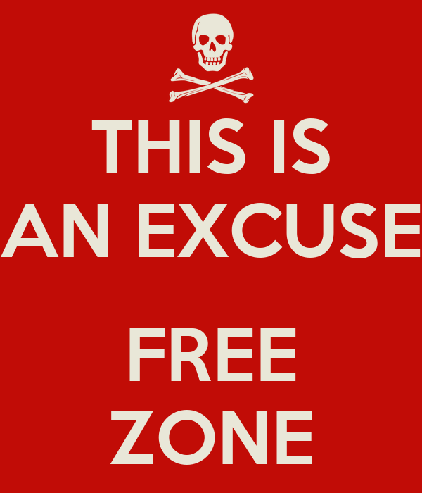 THIS IS AN EXCUSE  FREE ZONE