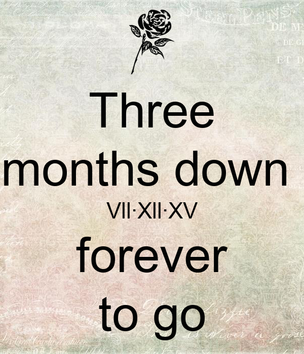 Three months down  Vll·Xll·XV forever to go