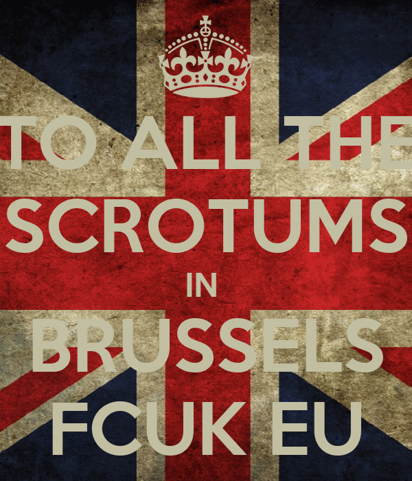 TO ALL THE SCROTUMS IN  BRUSSELS FCUK EU