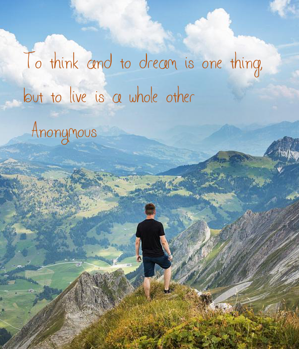 To think and to dream is one thing,  but to live is a whole other ~Anonymous
