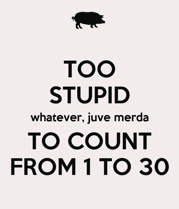 TOO STUPID whatever, juve merda TO COUNT FROM 1 TO 30