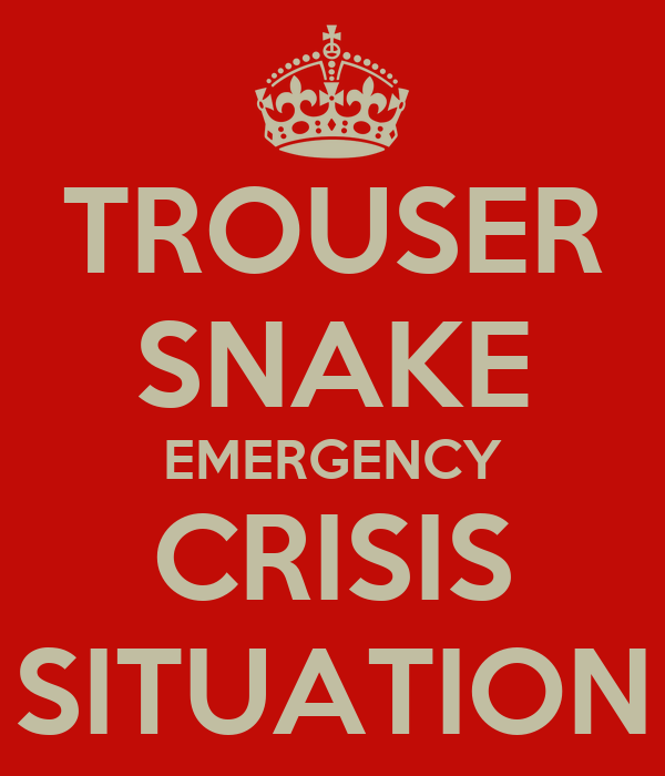 TROUSER SNAKE EMERGENCY CRISIS SITUATION