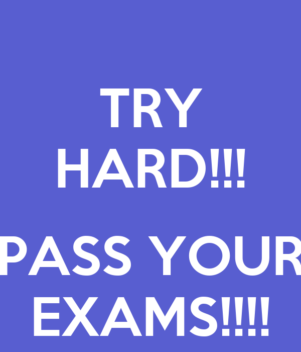 TRY HARD!!!  PASS YOUR EXAMS!!!!
