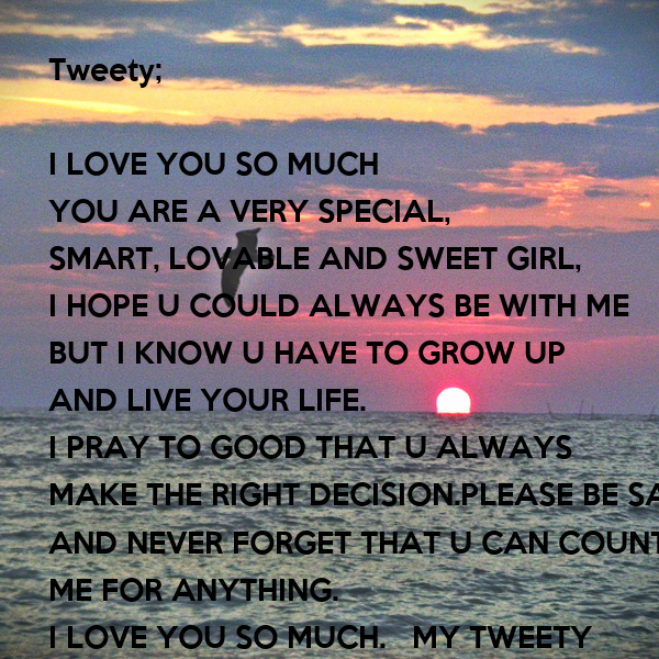 Tweety I Love You So Much You Are A Very Special Smart Lovable