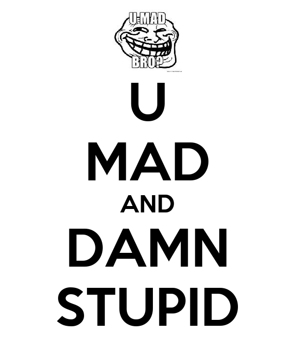 U MAD AND DAMN STUPID