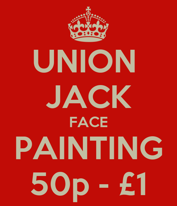 UNION  JACK FACE PAINTING 50p - £1