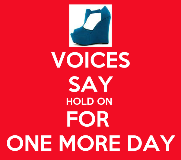VOICES SAY HOLD ON  FOR  ONE MORE DAY