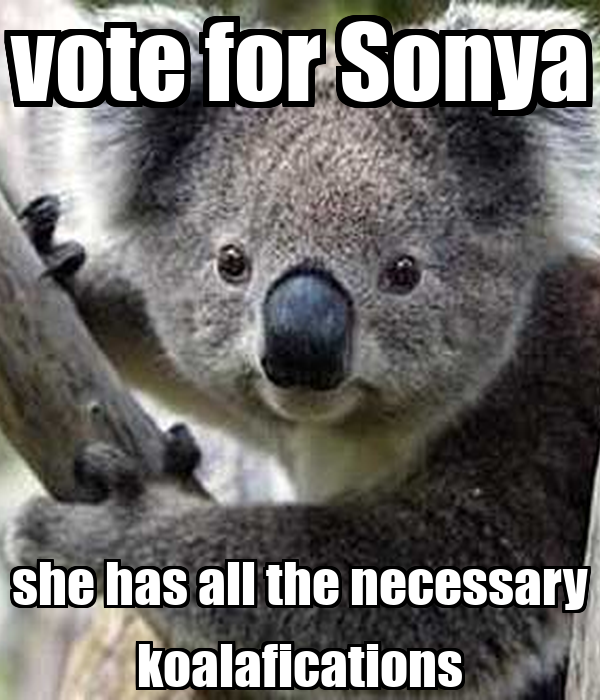 vote for Sonya she has all the necessary koalafications