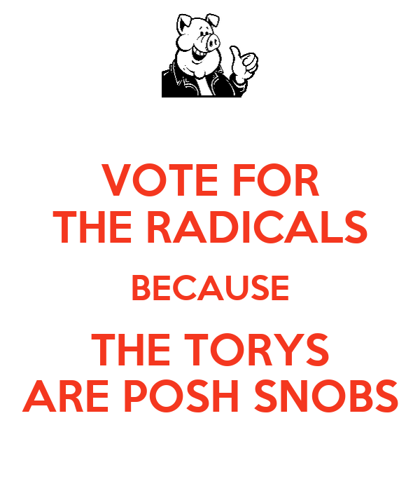 VOTE FOR THE RADICALS BECAUSE THE TORYS ARE POSH SNOBS